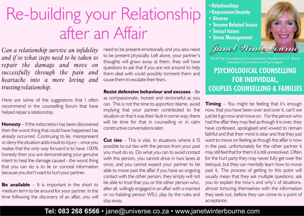 Re-building your relationship after an Affair Psychologist Cape Town